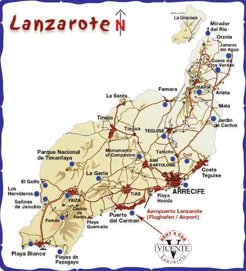Isla De Lanzarote Mapa.Vicente Rent A Car Alquiler De Coches En Lanzarote